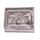 シャネル リボン&ココマーク ミニ 三つ折財布 メタリックシルバー A46894