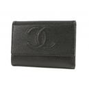 シャネル キャビアスキン 三つ折財布 ブラック A13225