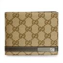 グッチ 二つ折財布/メンズ財布 MEN BAR/メンバー GGキャンバス ベージュ×ブラウン 272995 FAFXR 9643