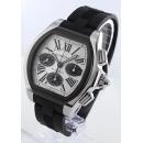 カルティエ ロードスター XL オートマチック クロノグラフ ラバー シルバー&ブラック ローマン メンズ W6206020