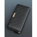 Gucci グッチシマ ゴールドのラウンドファスナータイプ 艶やか堪能する ブラックレザー 長財布 307980