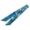 エルメス スカーフ ツイリー シルクツイル メキシコの花 Millefleurs du Mexique HERMES シルクスカーフ ープル×ブルー×ピンク