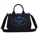 PRADA CANAPA カナパ キャンバス 2WAYトートバッグ ブラック×ブルー マルチカラー 1BG439 ZKIOOX 98P