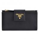 プラダ PRADA サフィアーノレザー 型押しカーフスキン 二つ折り財布 ブラック 1ML005 QWA 002