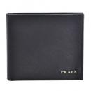 プラダ PRADA サフィアーノ 型押しカーフスキン メンズ 二つ折り財布 ネイビー×グレー 2MO738 2EGO UDO