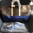 ルイヴィトン モノグラム キャンバスにパシフィックブルーを組み合わせました 旅行鞄アイコニック キーポル バンドリエール 50 M43861