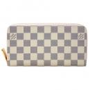 ルイヴィトン N63503 ラウンドファスナー長財布 12枚カード ダミエ アズール ジッピー ウォレット ローズ バレリーヌ