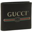 グッチ 496316 0GCAT 8163 GUCCI PRINT プリント メンズ 二つ折り財布 無地 BLACK 黒