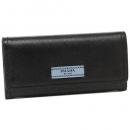 プラダ 財布 PRADA 2MO738 2EGO F0575 SAFFIANO STRIPE COLOUR メンズ 二つ折り財布 無地 BLACK BLUETTE SMERALDO 黒