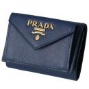 プラダ 三つ折り財布 ミニ財布 レディース サフィアーノ ネイビー ブルー系 1MH021 QWA 016