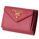 プラダ PRADA 三つ折り財布 ミニ財布 レディース サフィアーノ ピンク系 1MH021 QWA 505