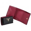 プラダ 財布 三つ折り サフィアーノ バイカラー ミニ財布 ブラック×ピンク 1MH021 ZLP 61H
