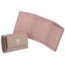 プラダ 財布 三つ折り サフィアーノ バイカラー ミニ財布 ベージュ×ピンク 1MH021 ZLP TTV