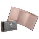 プラダ PRADA 財布 三つ折り サフィアーノ バイカラー ミニ財布 グレー×ピンク 1MH021 ZLP UJL