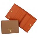 プラダ 財布 二つ折り カーフレザー ミニ財布 レディース ブラウン×オレンジ バイカラー 1MV204 2BG5 NV3