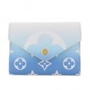 ルイヴィトン 三つ折り財布 ポルトフォイユ ヴィクトリーヌ ブルー M80387