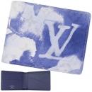 ルイヴィトン 2つ折り財布 ウォーターカラー モノグラム キャンバス ポルトフォイユ ミュルティプル ブルー M80458
