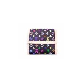 ルイヴィトン M92984 モノグラムマルチカラーホック式二つ折り財布 ブラック
