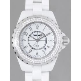 シャネル CHANEL J12 zH0967 33mm ホワイトセラミックブレス ベゼルダイヤ  ホワイト