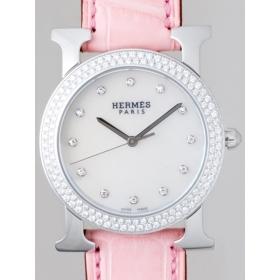 エルメス HERMES Hウォッチ ラ ロンド zHR1.530.284/MRP1 SS/ピンク皮 12Pダイヤ ベゼルダイヤ ボーイズ ホワイト