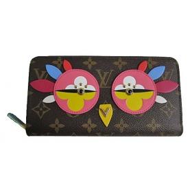 ルイヴィトン モノグラム ジッピー ウォレット 長財布 ラブリーバード 濃ピンク 鳥 M62414