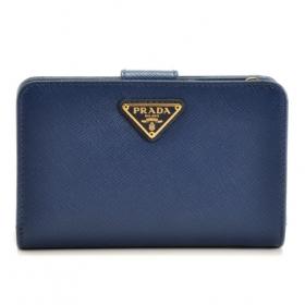 プラダ サフィアーノ 二つ折り 財布 レディース ミニ財布 二つ折り財布 ブルー ネイビー系 1ML225 QHH 016