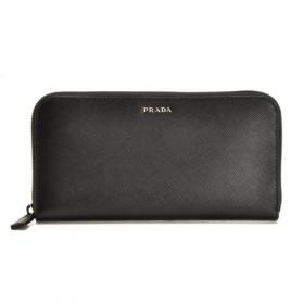 プラダ サフィアーノ 財布 メンズ ラウンドファスナー長財布 ブラック系 2ML317 C5S D9A