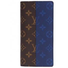 ルイヴィトン モノグラム スプリット ポルトフォイユ ブラザ/長財布 モノグラム×ブルー M63026