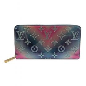 ルイヴィトン モノグラム ヴェルニ ジッピー ウォレット 長財布 メタリック ピンク ブルー グラデーション M90520