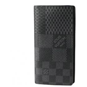 ルイ ヴィトン  ポルトフォイユ ブラザ NM(二つ折長財布) ダミエ グラフィット 3D キャンバス グラフィット(ブラック×グレー) N60436